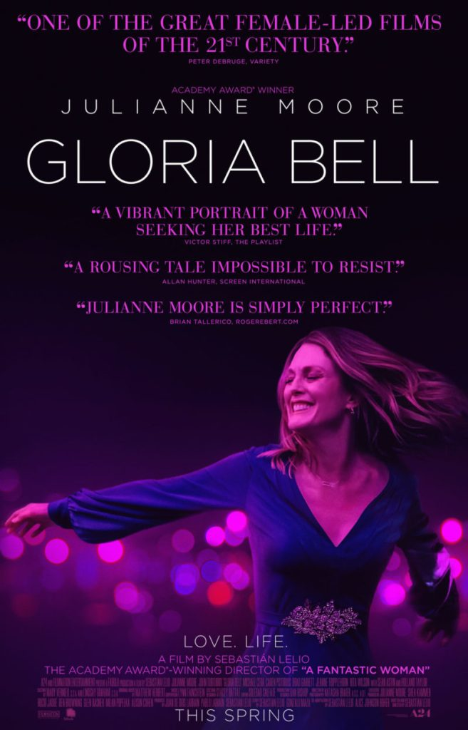 The film poster showing Gloria (Julianne Moore) drenched in purple light, dancing.