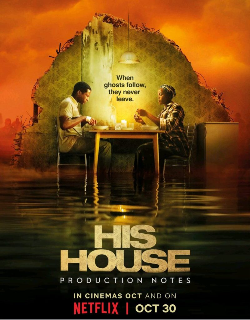 The film poster showing Bol (Sope Dirisu) and Rial (Wunmi Mosaku)  having dinner in a piece of kitchen that is floating on water.
