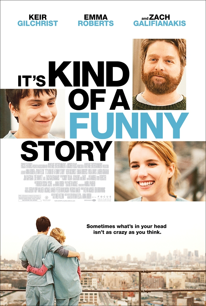 The film poster showing close-ups of Craig (Keir Gilchrist), Bobby (Zach Galifianakis) and Noelle (Emma Roberts) above an image of Craig and Noelle hugging on the hospital roof.