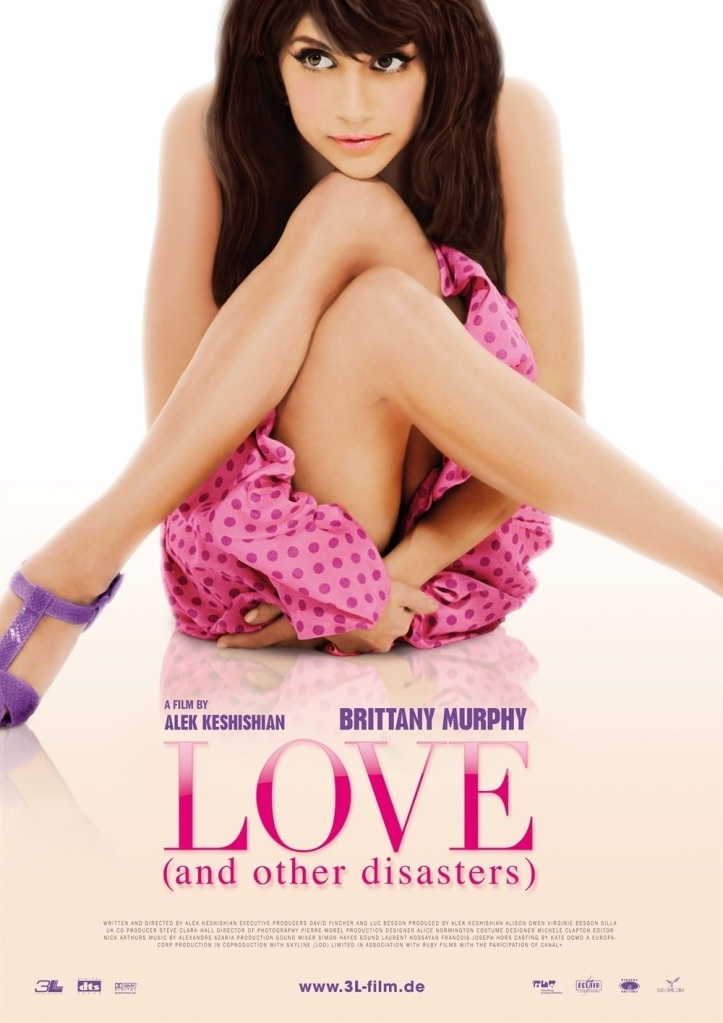 The film poster showing Jacks (Brittany Murphy) sitting huddled together with crossed legs.
