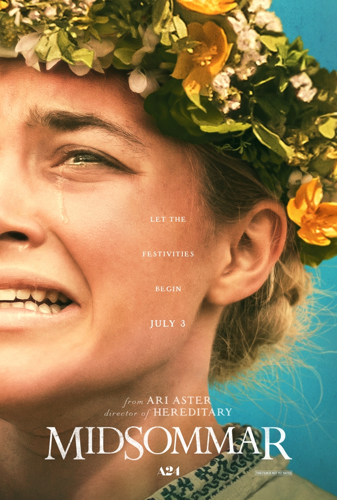 The film poster showing a close-up of half of Dani's (Florence Pugh) face. She is wearing a flower crown and crying.