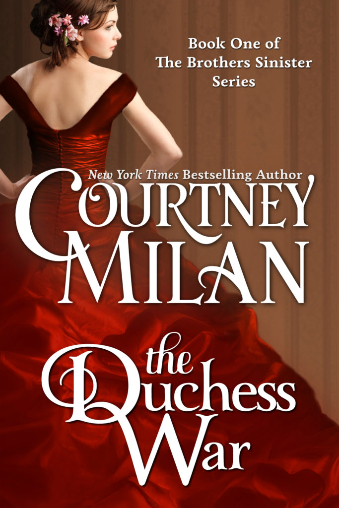 The book cover showing a woman from behind, in a red dress with a huge skirt. She has flowers in her hair.