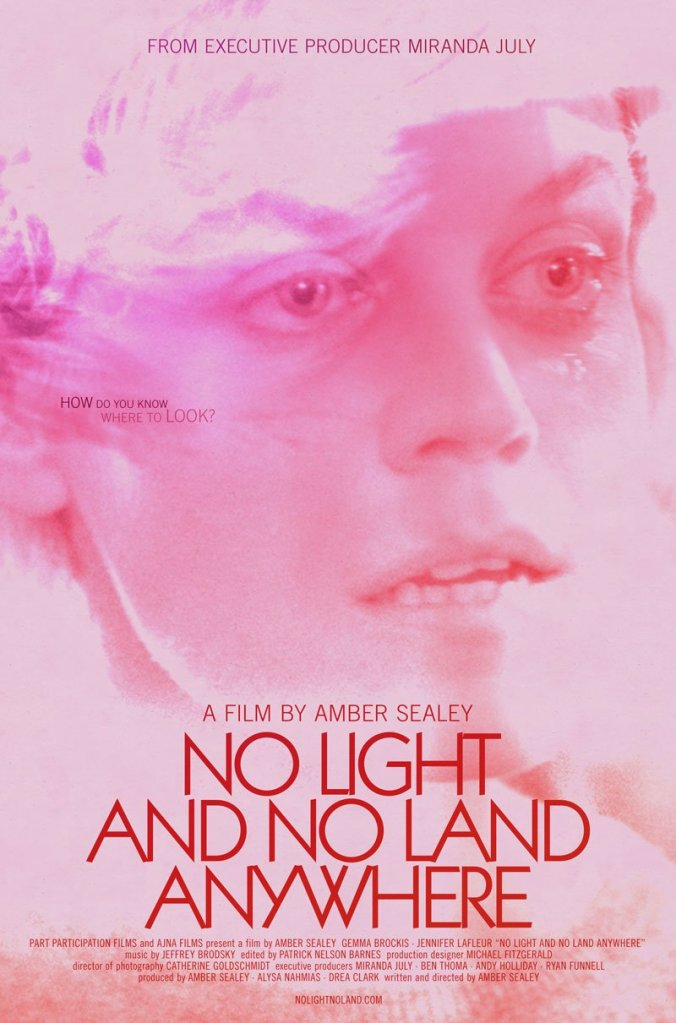 The film poster showing a close-up of Lexi (Gemma Brockis) with tears in her eyes, all in shades of pink.
