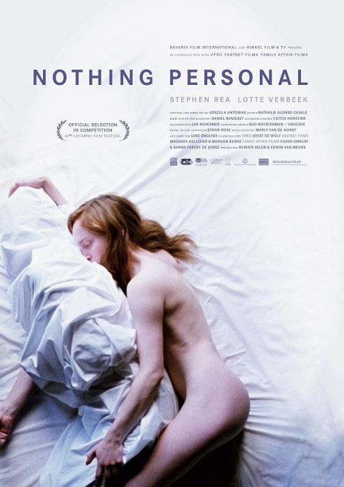 The film poster showing Anne (Lotte Verbeek) spooning Martin (Stephen Rea). She is naked, he is covered completely by a white sheet.
