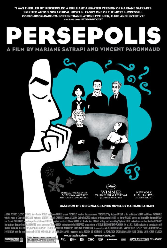 The film poster showing Marjane, her chin in her hand. Behind her is a bubble that shows her family - mother, father, uncle and grandmother standing around a sofa on which she sits as a child.