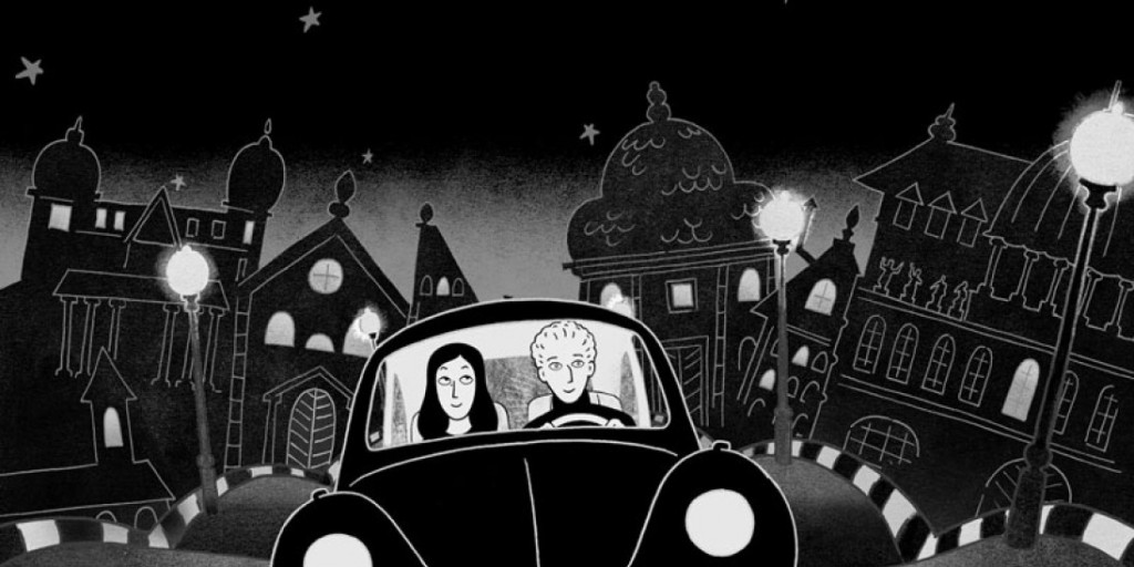 Marjane riding in the car with her Austrian boyfriend.