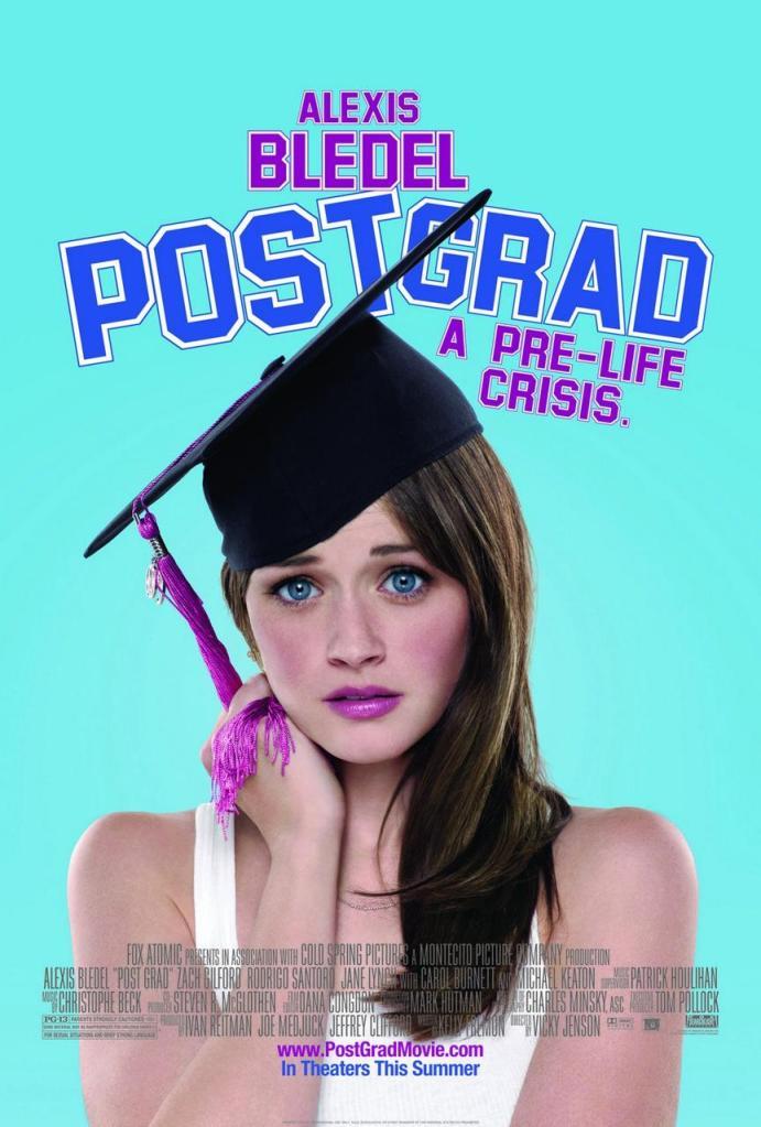 The film poster showing Ryden (Alexis Bledel) wearing a graduation cap askew, looking worried.