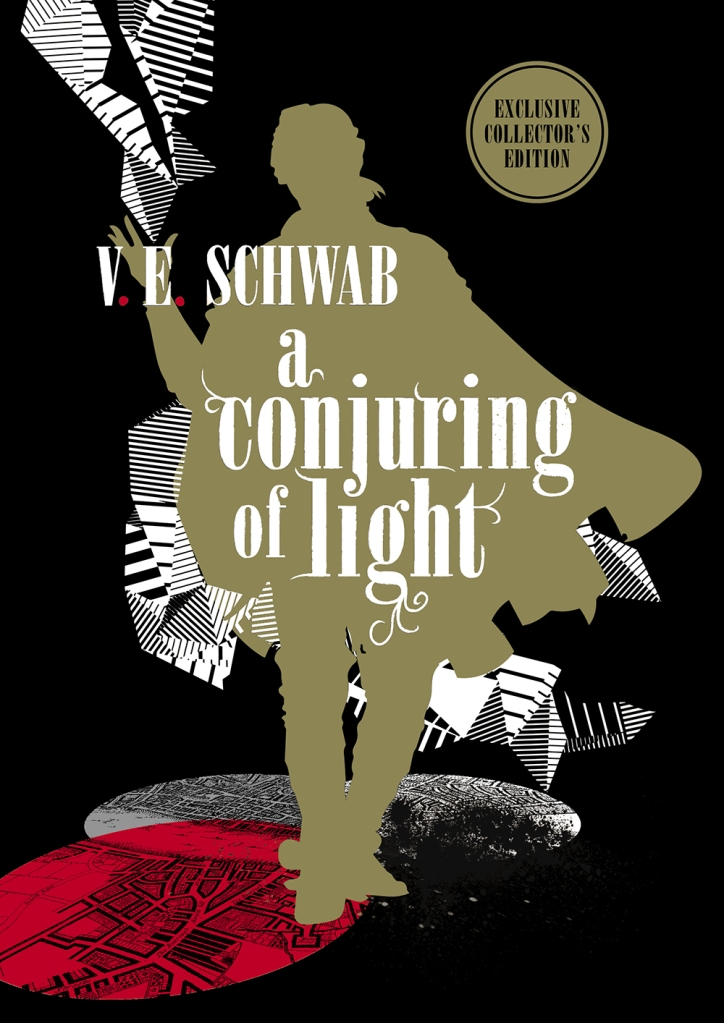 The book cover showing the shape of a man in a cape walking through a black, white and red background.