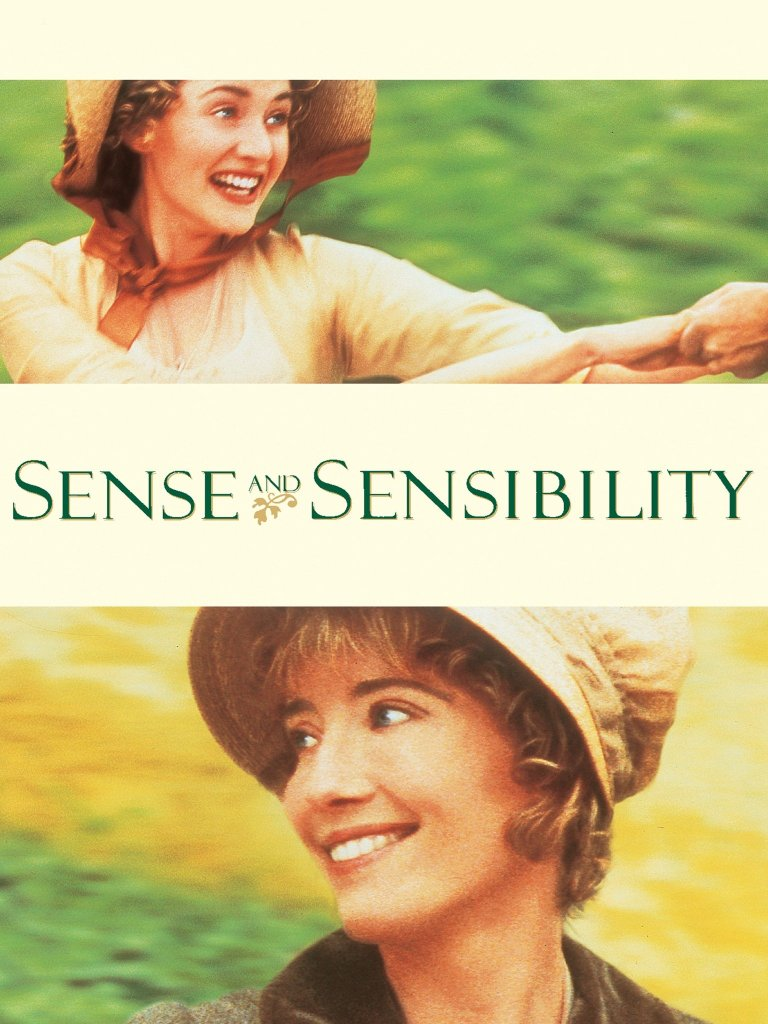 The film poster showing Marianne (Kate Winslet) in one image as she laughs, and Elinor (Emma Thompson) in another image, smiling softly.