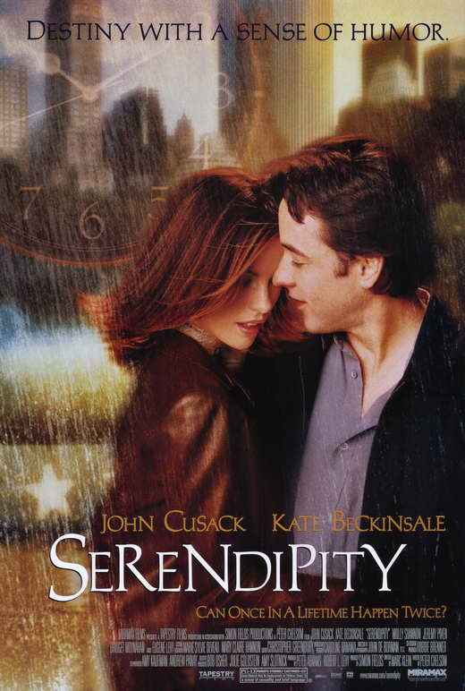 The film poster showing Sara (Kate Beckinsale) and Jonathan (John Cusack) embracing each other.