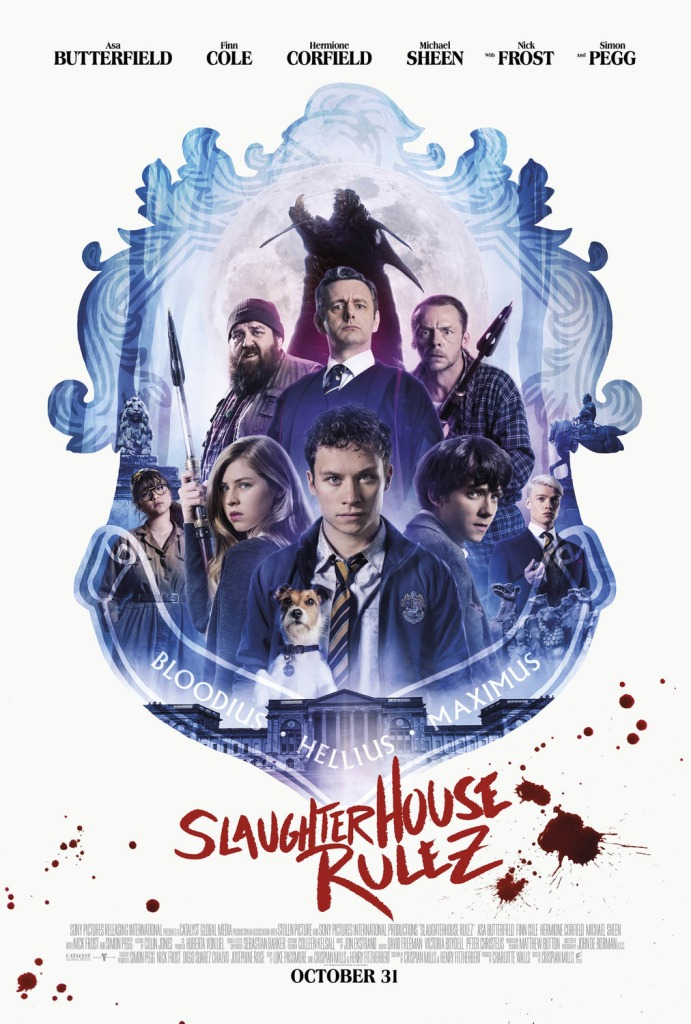 The film poster showing the main characters in a school crest-shape.