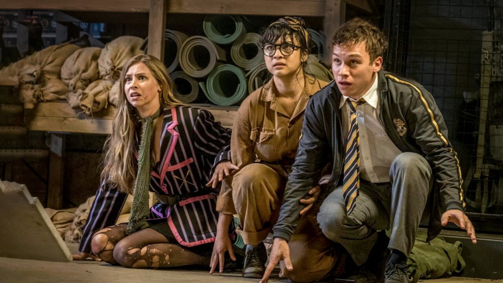 Clemsie (Hermione Corfield), Kay (Isabella Laughland) and Don (Finn Cole) cowering in a cellar.