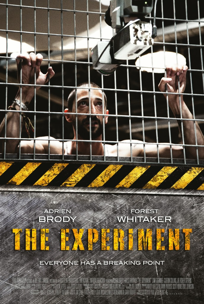 The film poster showing Travis (Adrien Brody) holding on to iron bars.