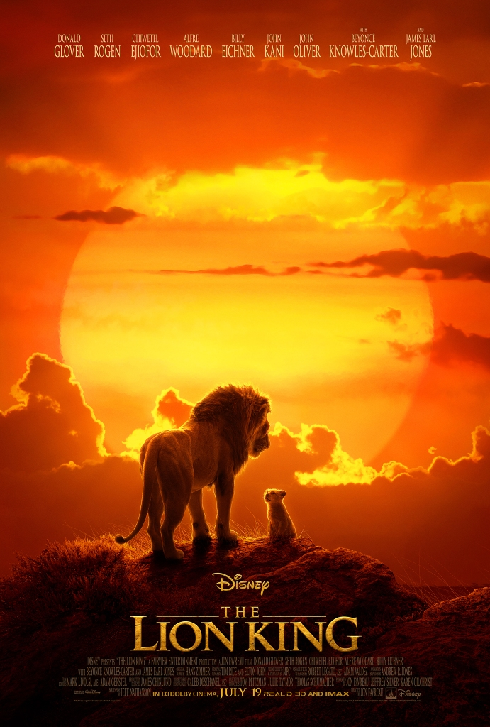 The film poster showing Mufasa standing with small Simba on a rock as the sun sets.
