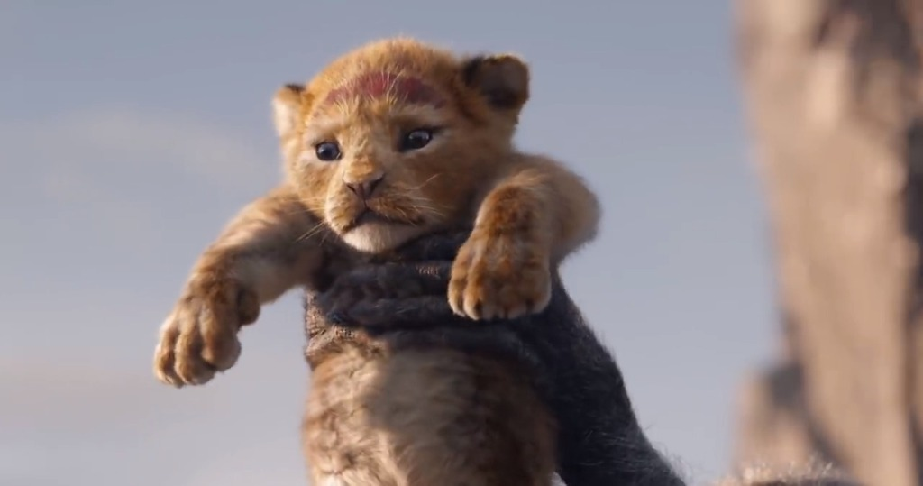 Little Simba being held up by Rafiki.