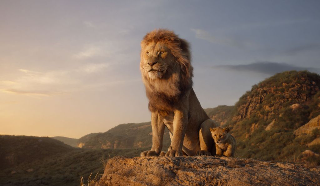 Mufasa and little Simba surveying their lands.