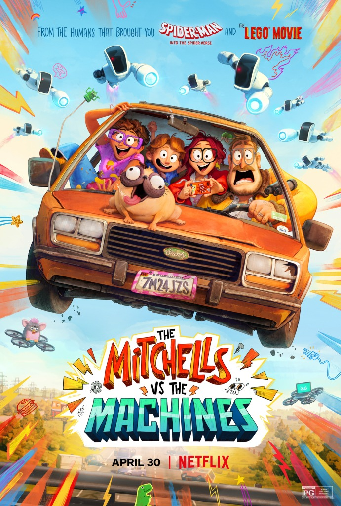 The film poster showing the Mitchell family in their car, flying through the air, their pug sitting outside on the hood.
