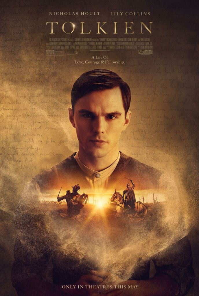 The film poster showing J. R. R. Tolkien (Nicholas Hoult). Superimposed over his chest are two warriors fighting on horseback.