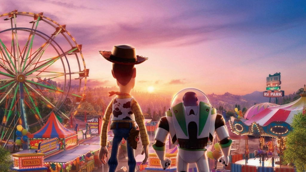 Woody and Buzz overlooking the fairground.