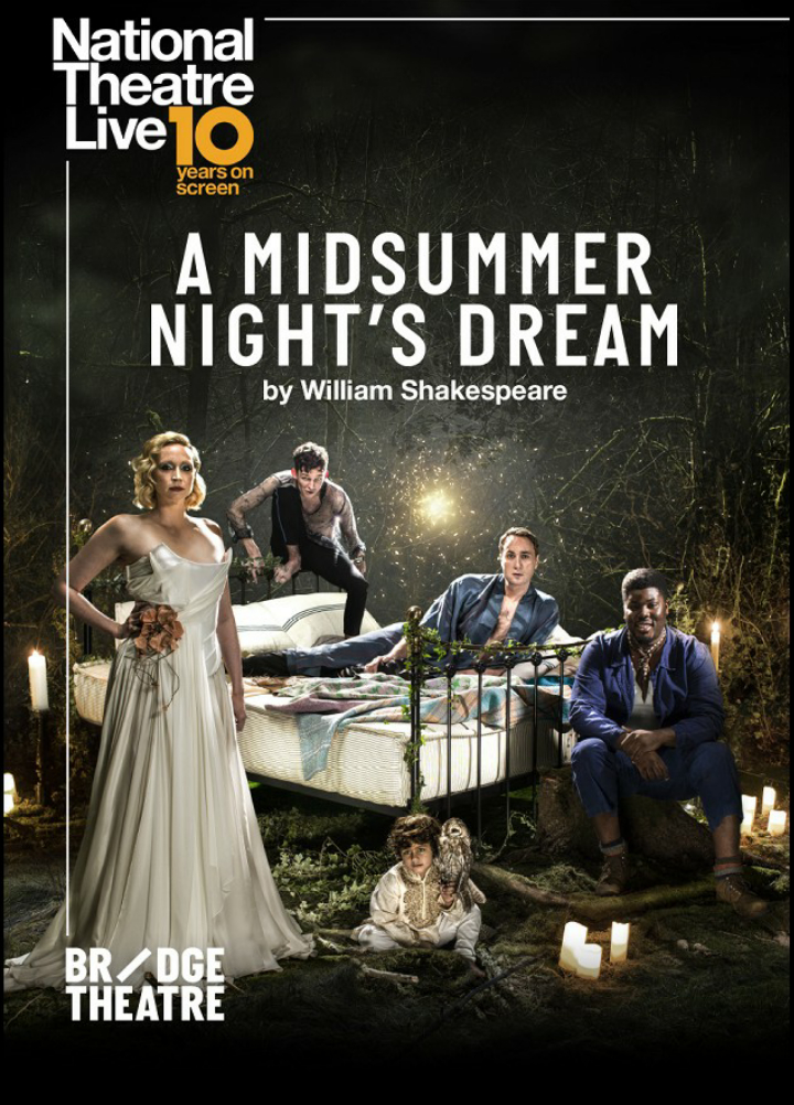 The production poster showing Titania (Gwendoline Christie), Puck (David Moorst), Oberon (Oliver Chris), Bottom (Hammed Animashaun) and the changeling child sittiing on and around a bed in a forest.