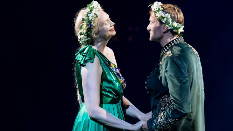 Hippolyta (Gwendoline Christie) and Theseus (Oliver Chris) ready to get married.