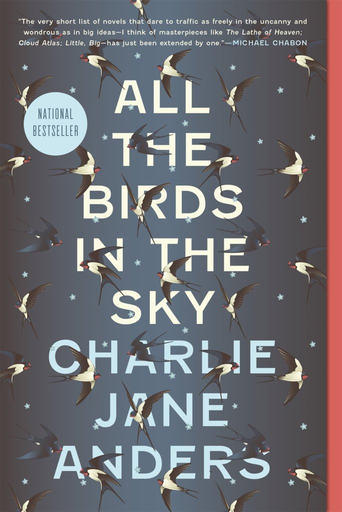 The book cover showing the title in big letters on a dark blue background with stars. Several swallows in different flying positions cover the page and the letters partly.