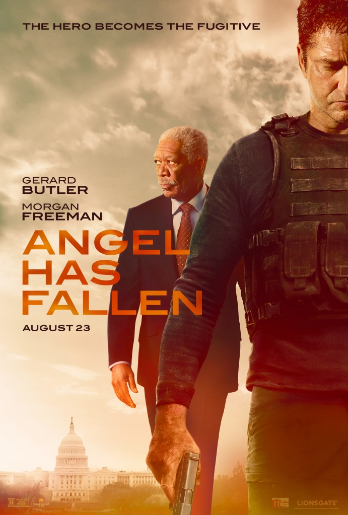The film poster showing Mike Banning (Gerard Butler) in the front, wearing an armored vest and holding a gun. Behind him walks President Trumbull (Morgan Freeman).
