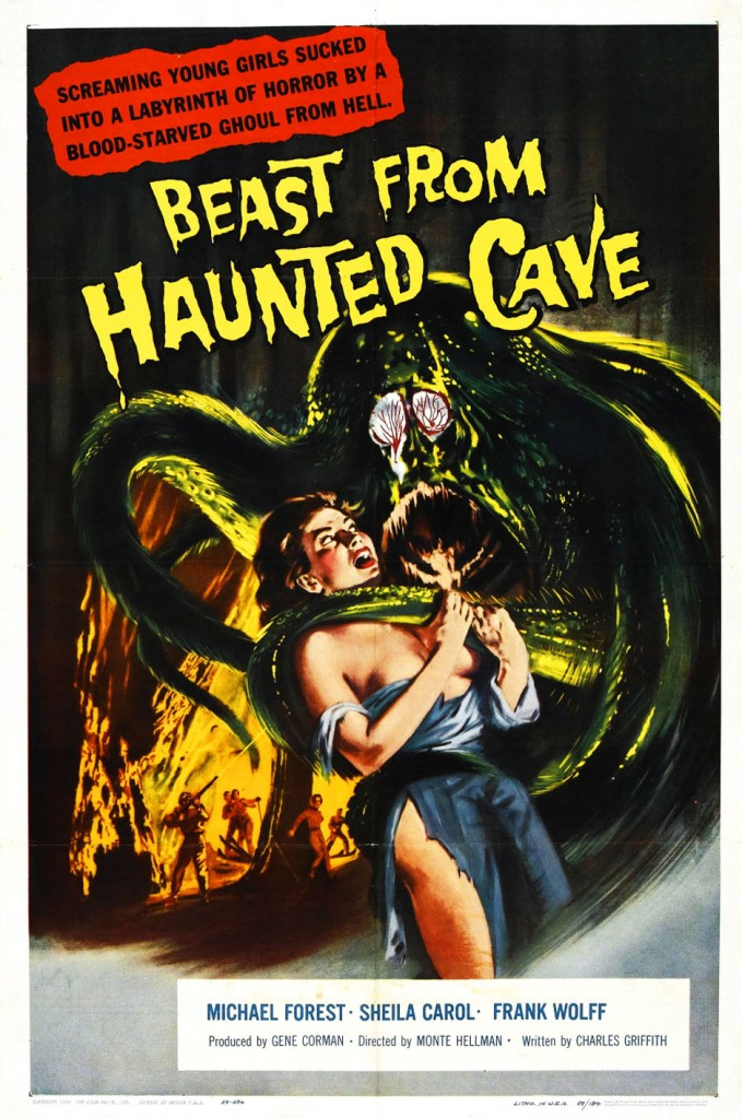 The film poster showing a very pulpy drawing of a green monster that has a tentacle wrapped around a woman in ripped clothing.