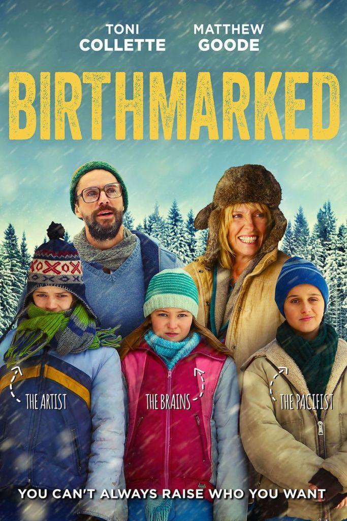 The film poster showing Catherine (Toni Collette), Ben (Matthew Goode), Luke (Jordan Poole), Maurice (Anton Gillis-Adelman) and Maya (Megan O'Kelly) in winter gear, standing outside.