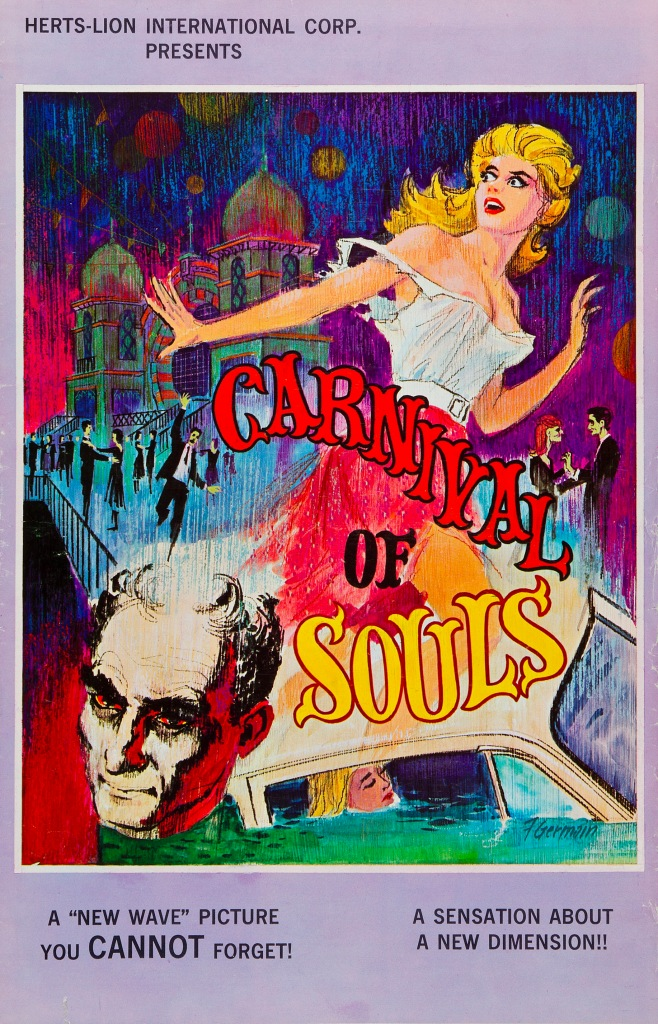 The film poster showing a drawing of a woman running from something. Behind her we can see a carnival building with dancers in front of it. Below her is the woman in a car that is half-submerged in water, as well as the head of a man.