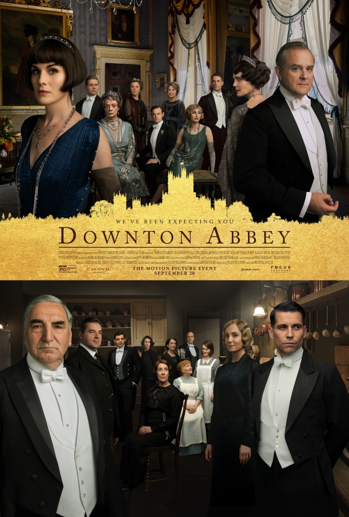 The film poster showing the noble characters in the top half, and the servants in the bottom half.