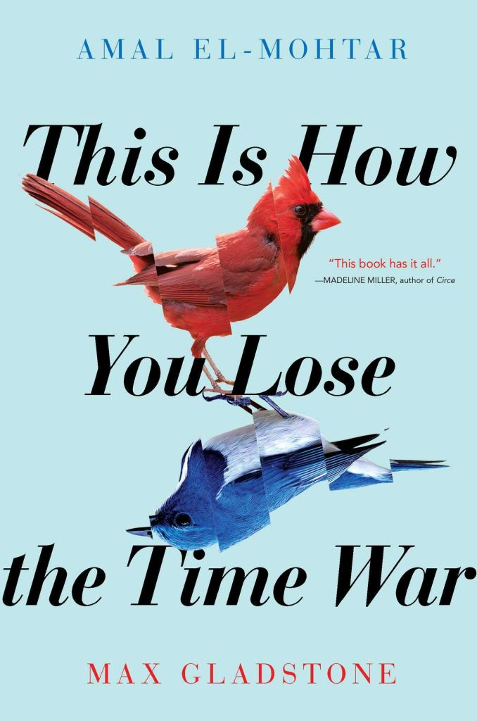 The book cover showing two birds, one red, one blue, standing with their claws to each other. Both birds are cut in several pieces, with the pieces being slightly out of alignment.