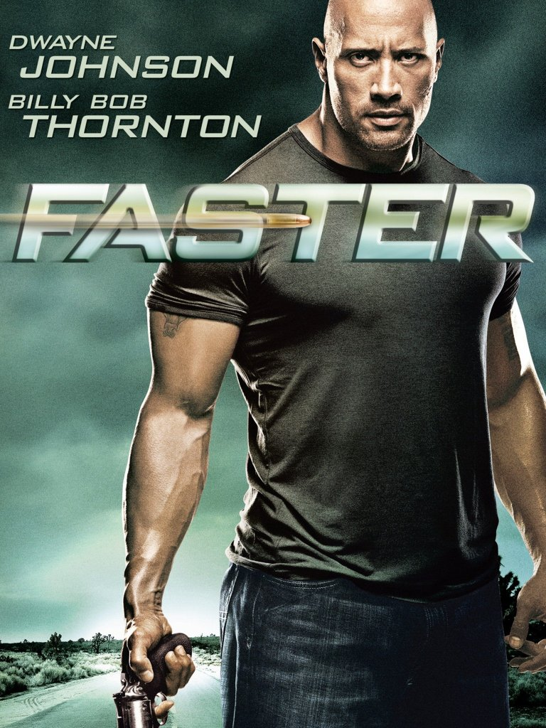 The film poster showing the Driver (Dwayne Johnson) standing tall, revolver in hand.