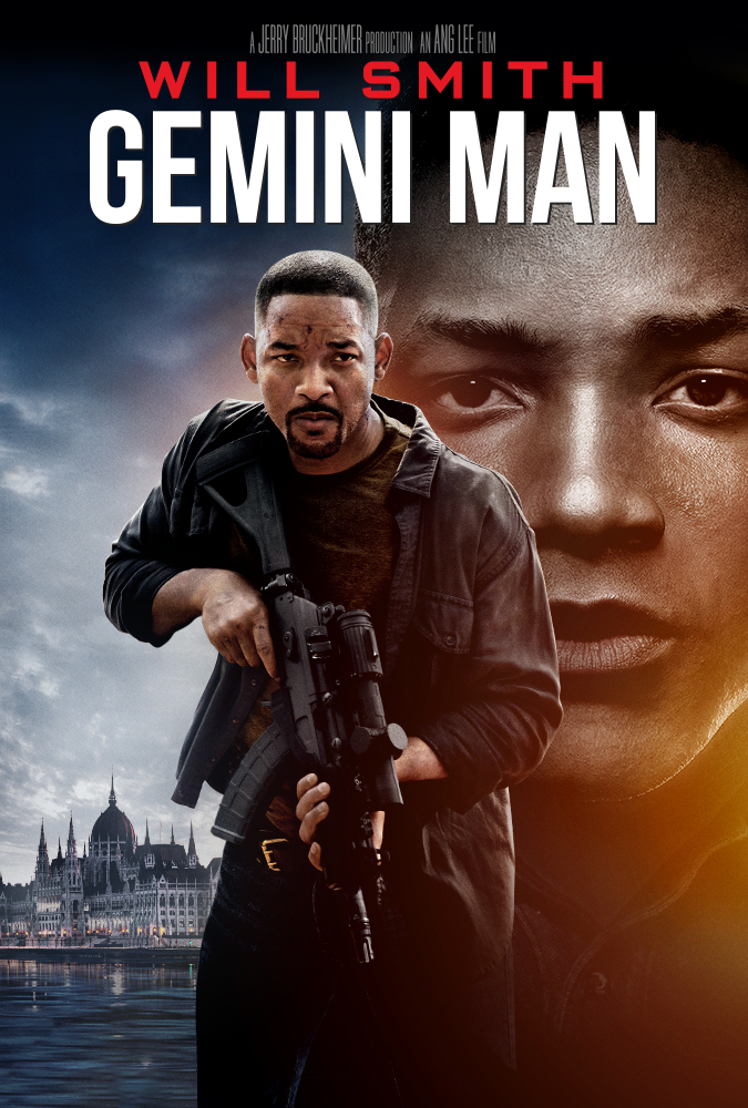 The film poster showing Henry (Will Smith) with an automatic weapon, behind him a fancy building and his own de-aged face in close-up-