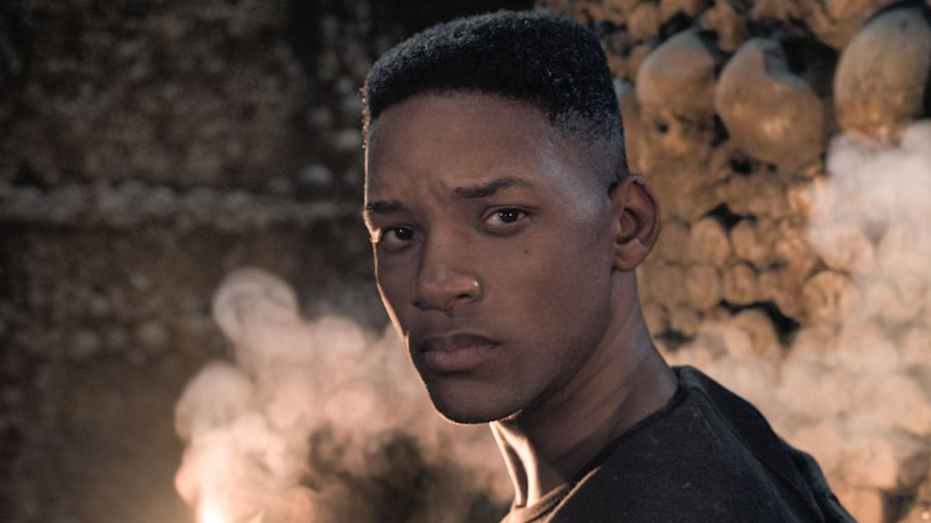 Junior (a de-aged Will Smith) looking back over his shoulder.