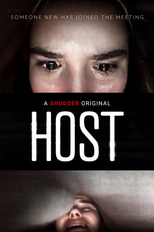 The film poster showing Haley's (Haley Bishop) eyes brimming with tears at the top and Emma (Emma Louise Webb) hiding under a bedsheet at the bottom.