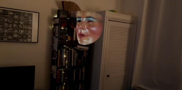 A face filter mask floating in thin air.