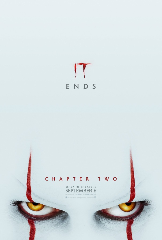 The film poster showing Pennywise (Bill Skarsgård) from the eyes up, with most of the image just white from his giant forehead.