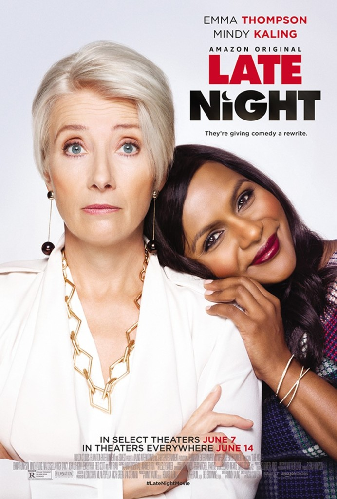 The film poster showing Molly (Mindy Kaling) leaning her head on Katherine's (Emma Thompson) shoulder. Molly is smiling, Katherine looks astonished.