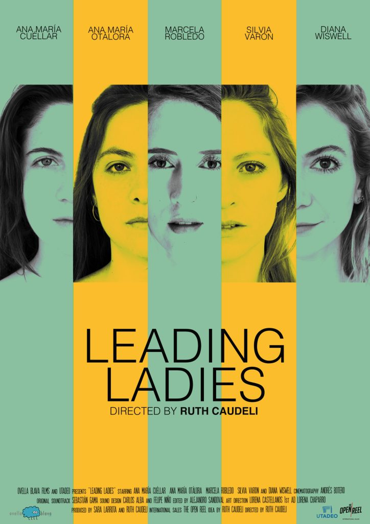 The film poster showing the faces of the five women next to each other, but separated by stripes in yellow and green.