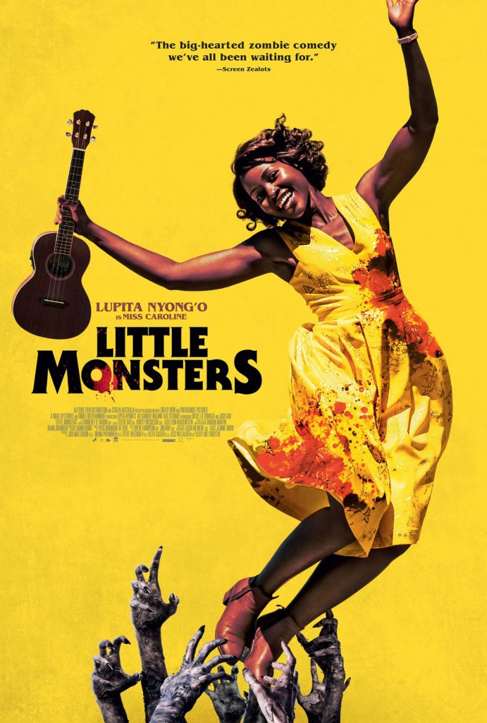 The film poster showing Miss Caroline (Lupita Nyong'o) mid-jump. She is holding a ukulele and smiling, but her dress is drenched in blood and there are zombie hands grabbing for her feet.