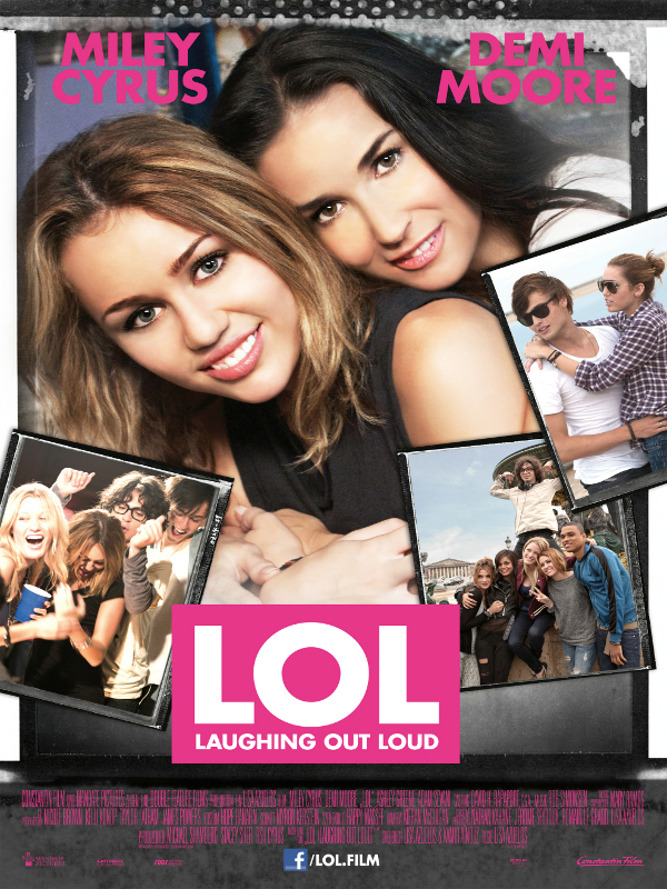 The film poster showing Anne (Demi Moore) hugging Lola (Miley Cyrus), with several party stills of Lola's around them.