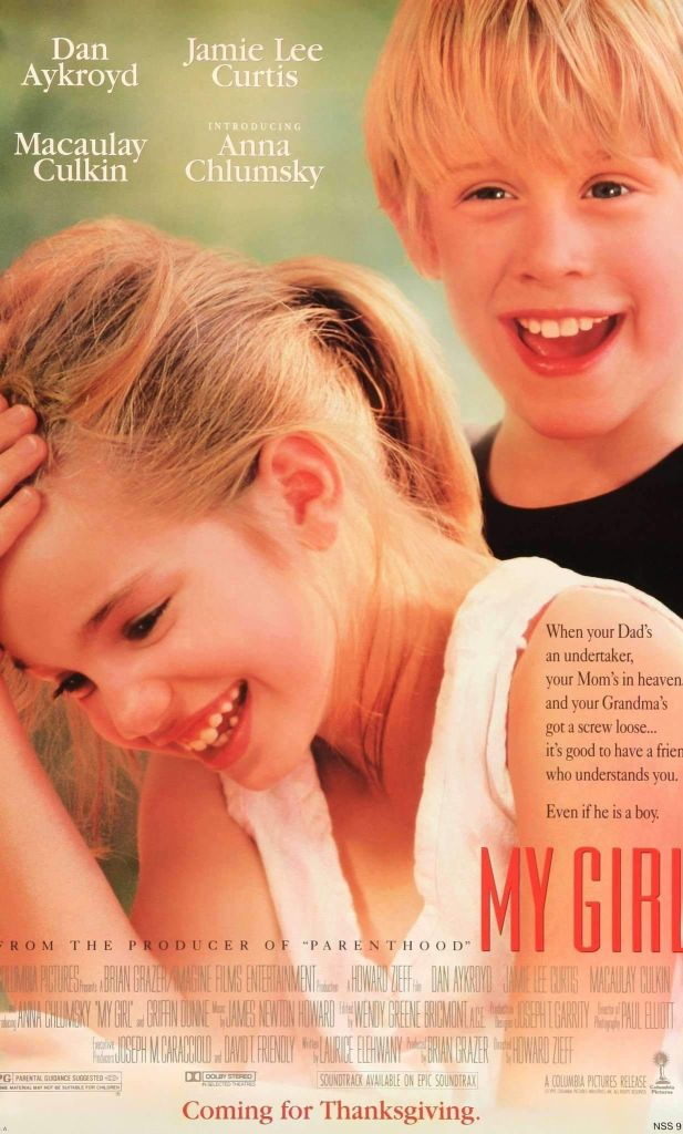 The film poster showing Vada (Anna Chlumsky) and Thomas J (Macaulay Culkin) laughing.