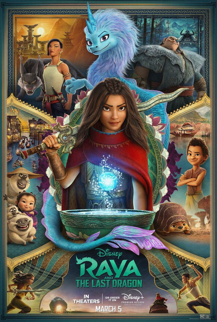 The film poster showing Raya standing in the middle, with Sisu above her. The rest of the image is separated in five parts, four representing one of the film countries and the fifth showing Raya and Namaari charging each other.