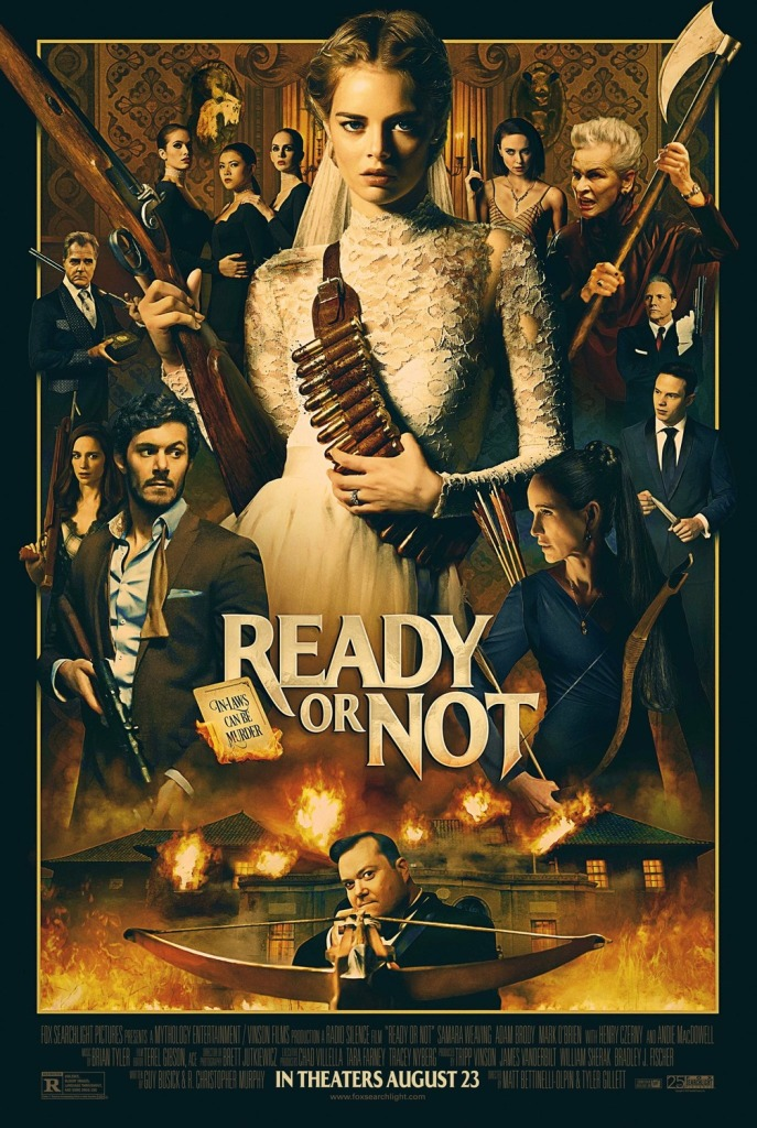 The film poster showing Grace (Samara Weaving) wearing a wedding dress and a bullet belt, and holding a shotgun. She is surrounded by several characters, all sporting different weapons.