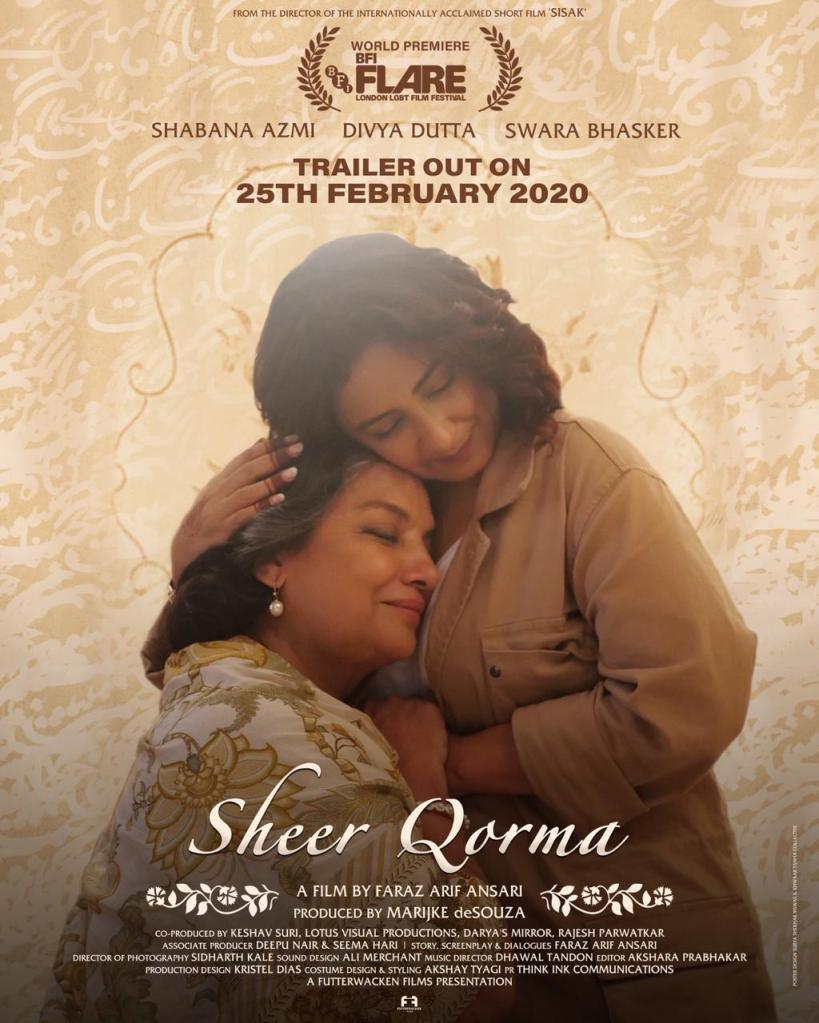 The film poster showing Saira (Divya Dutta) and Ammi (Shabana Azmi) hugging.