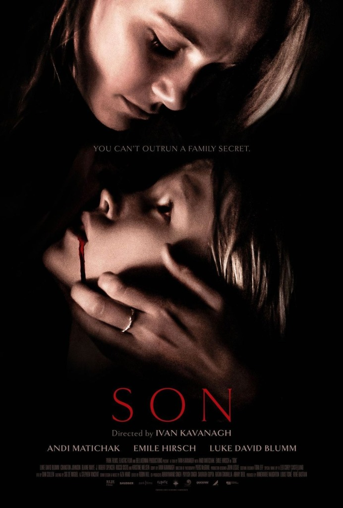The film poster showing Laura (Andi Matichak) cradling her son David (Luke David Blumm) who has blood trickling from his mouth.