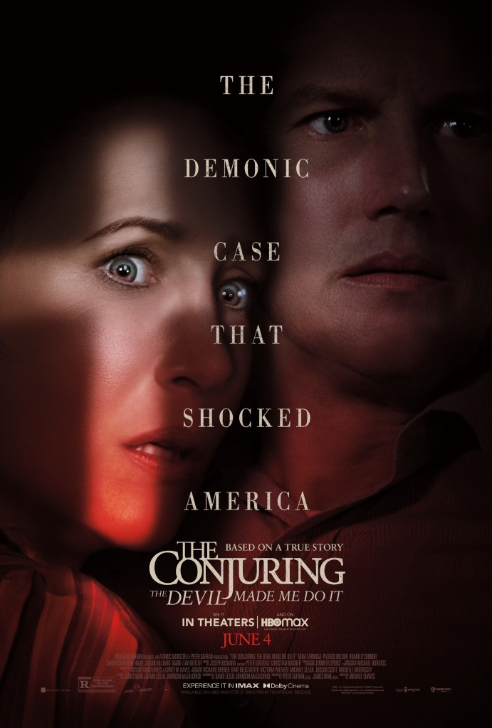 The film poster showing a close-up of Lorraine (Vera Farmiga) and Ed Warren (Patrick Wilson). Theres a shaft of light shaped like a cross on Lorraine's face.