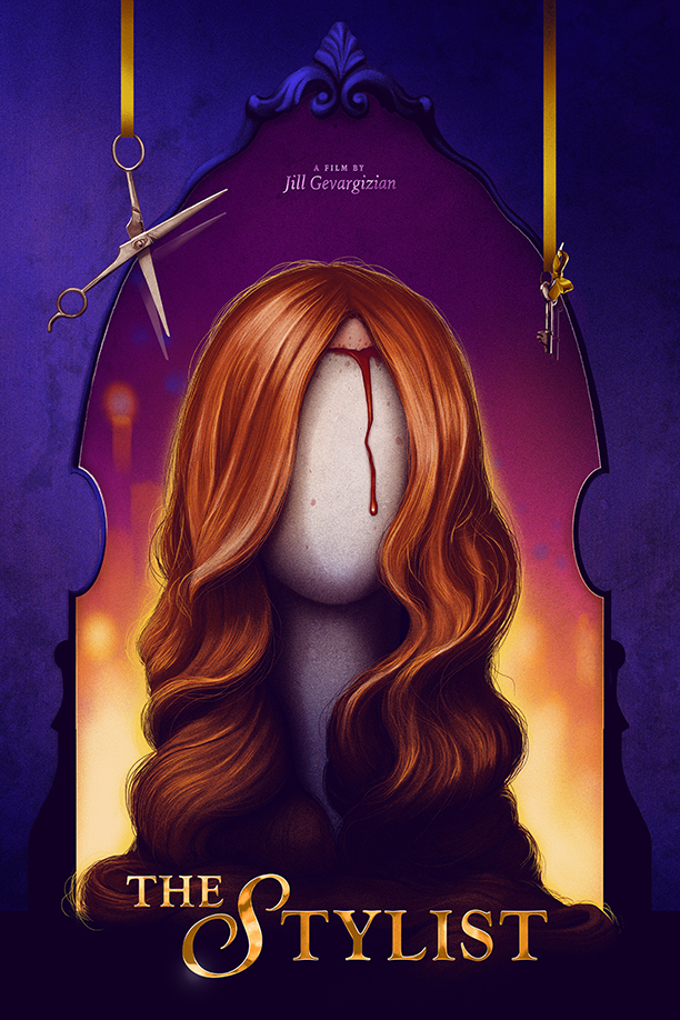 The film poster showing the drawing of a wig on a mannequin head, blood running from the hairline.