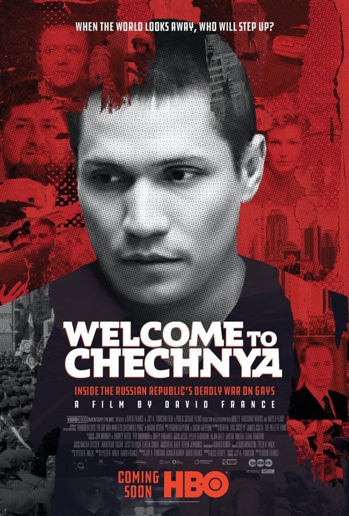 The film poster showing Maxim Lapunov with his fake face in black and white, behind him a red background with faces from several other people in the documentary.